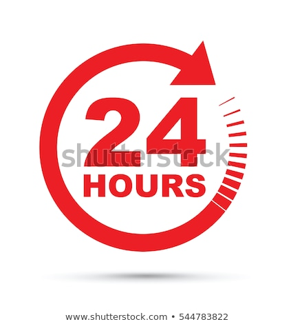 Stock photo: 24 Hours Service Red Vector Icon Design