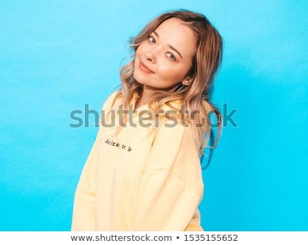 seksi · genç · kadın · mavi · güzel · poz · bakıyor - stok fotoğraf © NeonShot