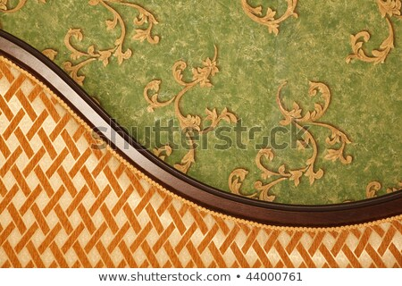 Fragment of sofa against green wall. Interior in retro style. Vertical format. Stock photo © Paha_L