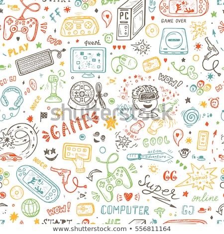 a vector seamless pattern of hand drawn doodles of electronic gadgets and devices stock photo © netkov1