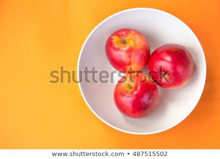vermelho · três · maçãs · iogurte · granola - foto stock © elisanth