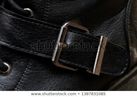Közelkép lövés fekete cipő pánt öv Stock fotó © Elisanth