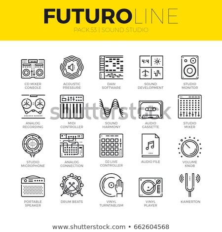 lemezjátszó · vonal · ikon · háló · mobil · infografika - stock fotó © rastudio
