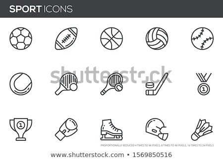 Stock photo: Hockey helmet line icon.