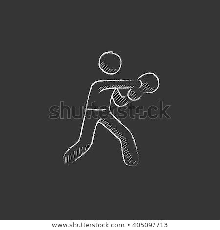 Guantes de boxeo tiza icono dibujado a mano vector Foto stock © RAStudio