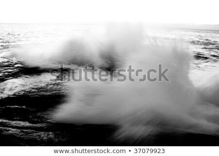 Foto stock: Blanco · negro · mar · olas · rocas · playa