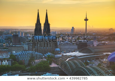 Cologne aerial overview before sunset Stock photo © AndreyKr