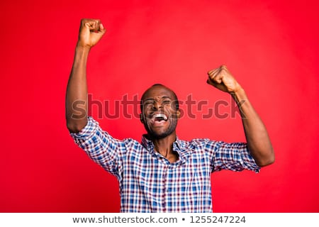 Portrait of cheerful attractive young man in checkered shirt Stock photo © deandrobot