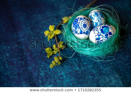 Christmas balls in nest Stock photo © simply