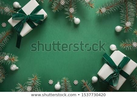 Рождества зеленый кадр дерево аннотация свет Сток-фото © Adigrosu
