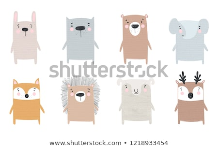 vector cartoon of winter elephant Stock photo © grivina
