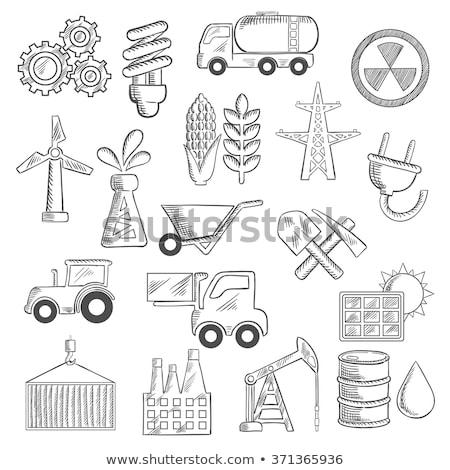 raffinaderij · plant · schets · icon · web · mobiele - stockfoto © rastudio