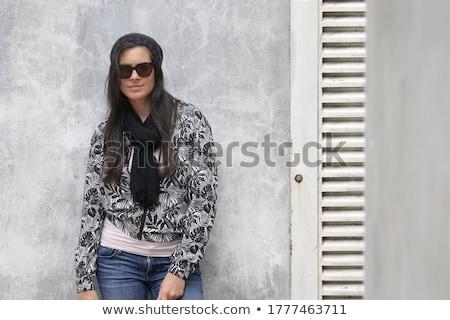 довольно девушки черный шарф молодые Сток-фото © Aikon