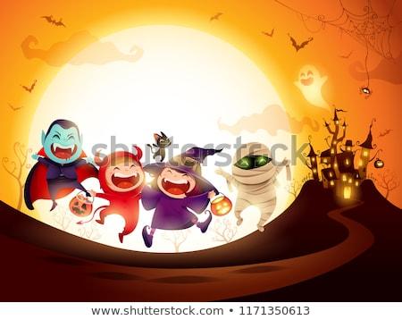 Halloween buli kastély hold ház textúra Stock fotó © SArts