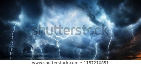 Zivatar néhány villám sztrájk eső épületek Stock fotó © alexeys