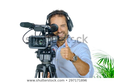 Cameraman man with camcorder Stock photo © adrenalina