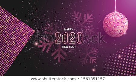 Fashion New Year party poster with gold sparkles. Disco ball wit Stock photo © masay256