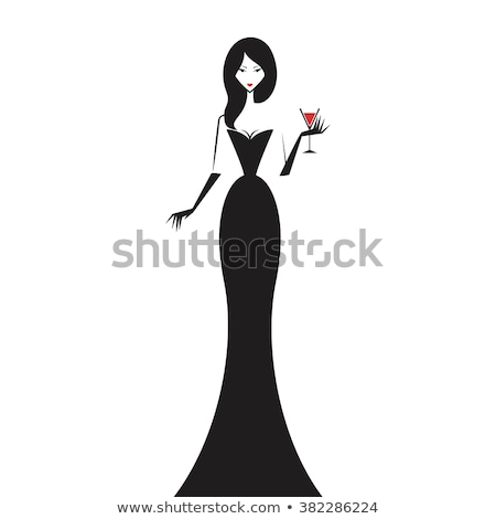 a girl in a black evening gown with a glass Stock photo © dmitriisimakov