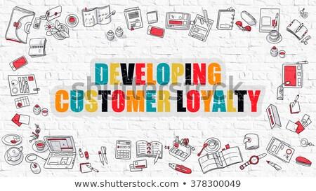 Entwicklung Kunden Loyalität weiß Backsteinmauer Doodle Stock foto © tashatuvango