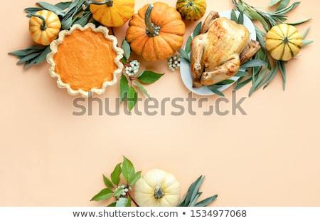 Oranje pompoenen salie twee witte blad Stockfoto © Digifoodstock