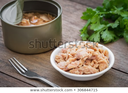 чаши · тунца · петрушка · деревянный · стол · рыбы - Сток-фото © digifoodstock