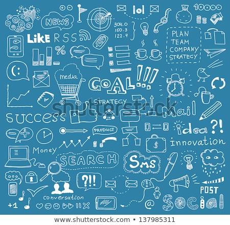 Foto stock: Negocios · objetivos · garabato · azul · texto · ilustración