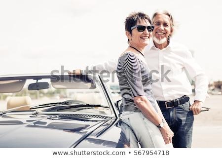 retro · pár · régi · autó · szeretet · üzletember · öltöny - stock fotó © is2