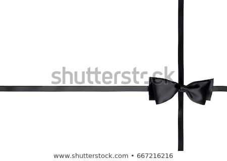Ajándék doboz feketefehér csíkok selyem narancs fehér Stock fotó © DenisMArt