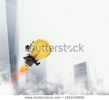 бизнесмен лампа свет небе 3D Сток-фото © alphaspirit