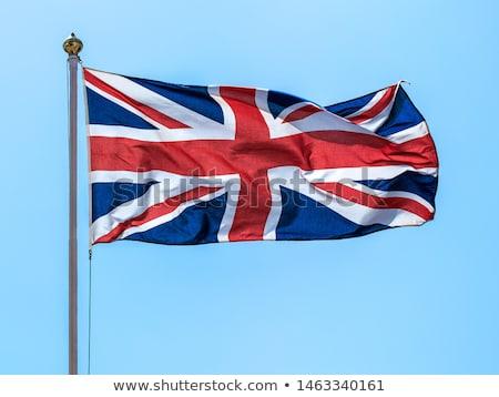 Brit zászló zászló pólus fa szél arculat Stock fotó © IS2
