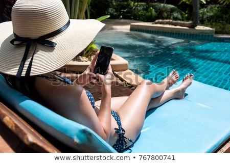 morena · posando · piscina · água · menina · modelo - foto stock © is2