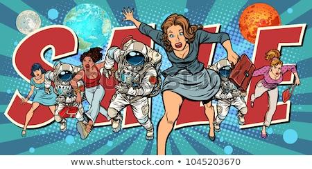women and astronauts running for sale Stock photo © studiostoks