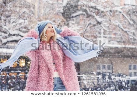 улыбающаяся · женщина · шуба · изображение · красивая · женщина · роскошный · женщину - Сток-фото © pilgrimego