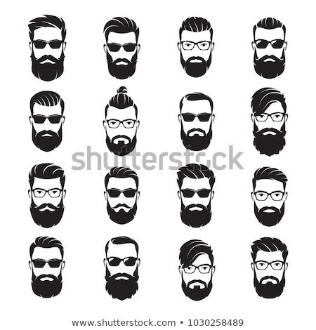 Barbershop sign Hipster face with beard. Fashionable hair and tu Stock photo © popaukropa