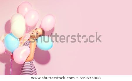 Stock fotó: Gyönyörű · lány · rózsaszín · ruha · gyönyörű · szőke · fiatal · nő