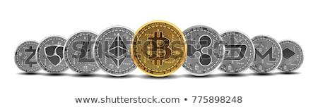 Gouden zilver bitcoin munten geïsoleerd witte Stockfoto © timurock