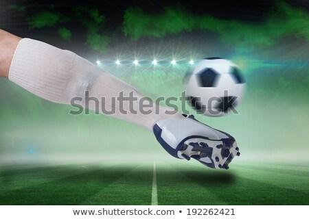 Digitaal gegenereerde witte leder voetbal Stockfoto © wavebreak_media