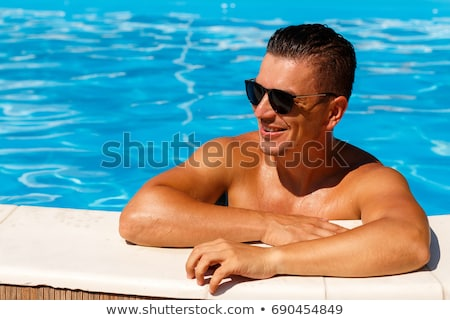 Foto stock: Joven · borde · piscina · sexy · fitness