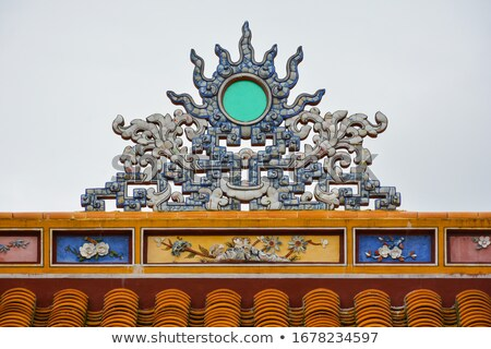 Viêt-Nam toit tuiles décoratif ornements Photo stock © romitasromala