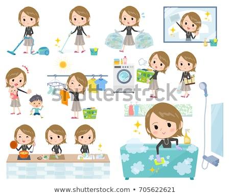 Short hair black high necked women_Housekeeping Stock photo © toyotoyo