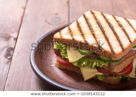 Stockfoto: Ham · tomaat · sla · sandwich · eigengemaakt · gerookt