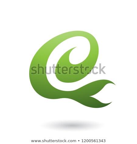 green curvy fun letter e vector illustration stock photo © cidepix