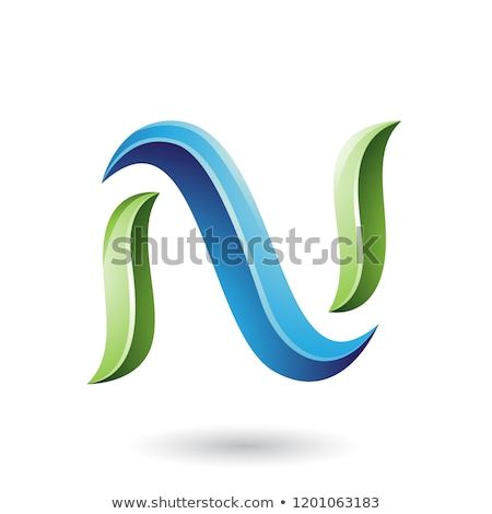 Green and Blue Glossy Snake Shaped Letter N Vector Illustration Stock photo © cidepix