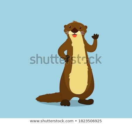Cartoon Otter Waving Stock photo © cthoman