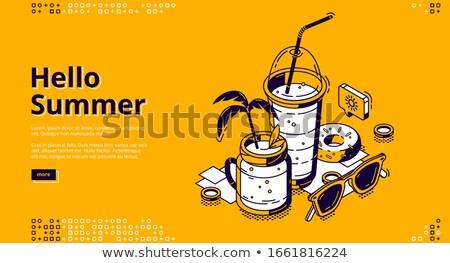 zomer · partij · poster · tekst · ingesteld · cocktails - stockfoto © robuart