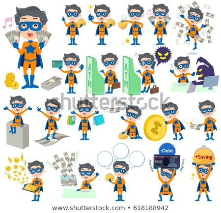Süper kahraman adam turuncu mavi para ayarlamak Stok fotoğraf © toyotoyo