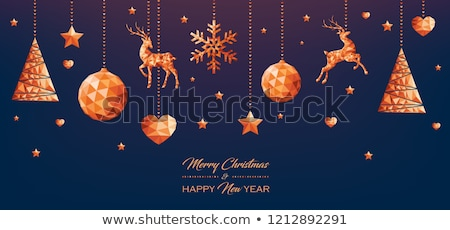 Christmas and New Year copper low poly gift card stock photo © cienpies