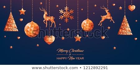 karácsony · új · év · réz · alacsony · ajándékkártya · vidám - stock fotó © cienpies