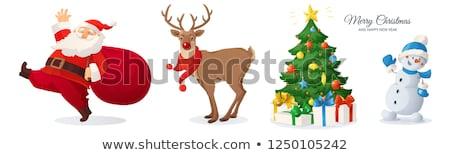 Rénszarvas ajándék ajándék izolált boldog szarvas Stock fotó © ori-artiste