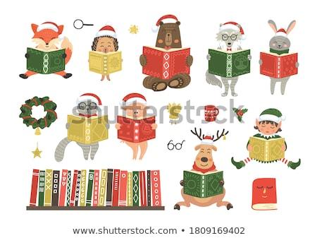 rena · leitura · livro · desenho · animado · veado · natal - foto stock © liolle